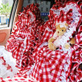 Plaid flower car seat covers Cotton seat covers - Red