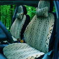 Snake Print Auto Car Front Rear Seat Covers Cushion - Beige