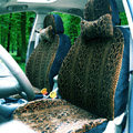 Snake Print Auto Car Front Rear Seat Covers Cushion - Brown