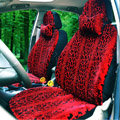 Snake Print Auto Car Front Rear Seat Covers Cushion - Red