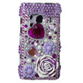 Bling 3D Flower Crystals Hard Cases Covers For Nokia N8 - purple