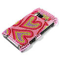 Bling Double Heart Crystals Hard Cases Covers For Nokia N8 - Pink