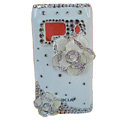 Bling Flowers Crystals Hard Plastic Cases Covers For Nokia N8 - White