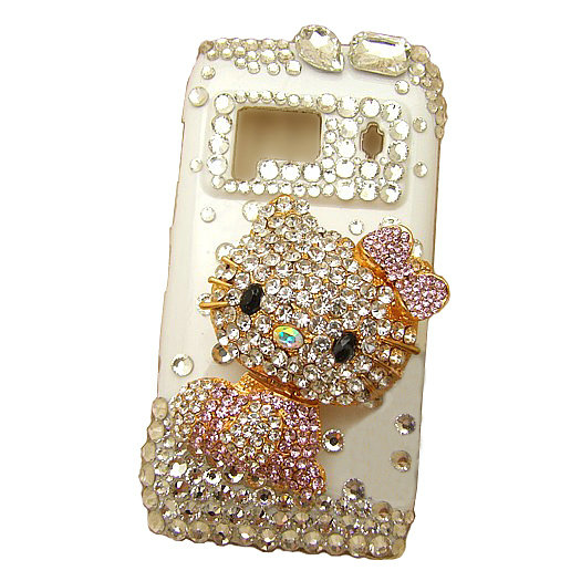 Bling Hello kitty Crystals Hard Plastic Cases Covers For Nokia N8 - Pink