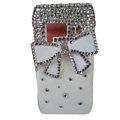 Bling bowknot Crystals Hard Cases Covers For Nokia N8 - White