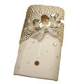 Bling bowknot Crystals Hard Plastic Cases Covers For Sony Ericsson X10i - White