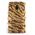 Bling Zebra Crystals Hard Cases Covers For Sony Ericsson X10i - Brown