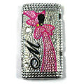 Bowknot Bling Crystals Hard Cases Covers For Sony Ericsson X10i - Rose