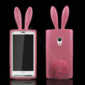 Rabbit Ears Silicone Case Covers For Sony Ericsson X10i - Pink