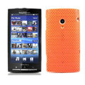 Slim Scrub Mesh Silicone Hard Cases Covers For Sony Ericsson X10i - Orange