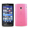 Slim Scrub Mesh Silicone Hard Cases Covers For Sony Ericsson X10i - Pink