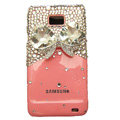 Bowknot Bling Crystals Cases Covers For Samsung i9100 GALAXY SII S2 - Pink