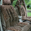 Car Seat Covers Cushion Winter Plush pads Leopard grain suede Eiderdown fabric - Brown