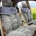 Car Seat Covers Cushion Winter Plush pads Leopard grain suede Eiderdown fabric - Gray