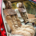 Car Seat Covers Cushion Winter Plush pads Leopard grain suede fabric Eiderdown - Brown