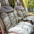 Car Seat Covers Cushion Winter Plush pads Leopard grain suede fabric Eiderdown - Grey