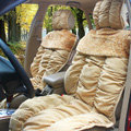 Car Seat Covers Cushion Winter Plush pads Leopard grain suede fabric Eiderdown - Khaki