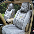 Winter Fleece Snoopy Car Seat Cushion Warm Plush pads Auto Seat Covers - Gray