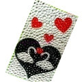 Couple Swan bling crystal cases skin for your mobile phone model - Black
