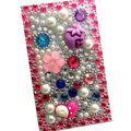 Flower 3D bling crystal cases covers for your mobile phone model - Pink EB003