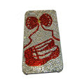 Bling covers Cartoon diamond crystal cases for iPhone 4G - Red