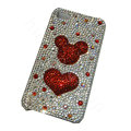 Bling covers Heart diamond crystal cases for iPhone 4G - Red