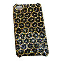 Bling covers Leopard Grain diamond crystal cases for iPhone 4G - Yellow