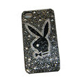 Bling covers Playboy diamond crystal cases for iPhone 4G - Black