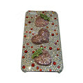 Bling covers Strawberry Heart diamond crystal cases for iPhone 4G - Pink