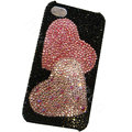 Bling covers Two Heart diamond crystal cases for iPhone 4G - Pink