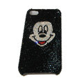 Bling covers White Mickey Mouse diamond crystal cases for iPhone 4G - Black
