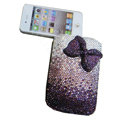 Luxury Bling Holster covers Bowknot diamond crystal cases for iPhone 4G - Purple