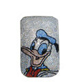 Luxury Bling Holster covers Donald Duck diamond crystal cases for iPhone 4G - White