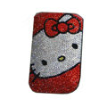 Luxury Bling Holster covers Hello Kitty diamond crystal cases for iPhone 4G - Red