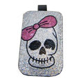 Luxury Bling Holster covers Skull diamond crystal cases for iPhone 4G - White