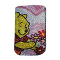 Luxury Bling Holster covers Winnie the Pooh diamond crystal cases for iPhone 4G - Pink