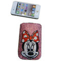 Luxury Bling Holster cover Minnie Mouse diamond crystal cases for iPhone 4G - Pink