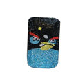 Luxury Bling Holster covers Angry Birds diamond crystal cases for iPhone 4G - Black