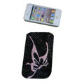 Luxury Bling Holster covers Butterfly diamond crystal cases for iPhone 4G - Black