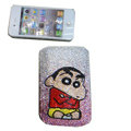 Luxury Bling Holster covers Crayon Shin-chan diamond crystal cases for iPhone 4G - Pink