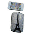 Luxury Bling Holster covers Eiffel Tower diamond crystal cases for iPhone 4G - White