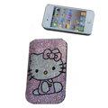 Luxury Bling Holster covers Hello Kitty Bowknot Pink diamond crystal cases for iPhone 4G - Pink