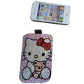 Luxury Bling Holster covers Hello Kitty Bowknot diamond crystal cases for iPhone 4G - Pink