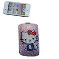 Luxury Bling Holster covers Hello Kitty Bowknot diamond crystal cases for iPhone 4G - Purple
