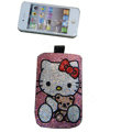 Luxury Bling Holster covers Hello Kitty Bowknot diamond crystal cases for iPhone 4G - Rose