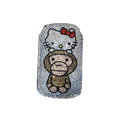 Luxury Bling Holster covers Hello Kitty Monkey diamond crystal cases for iPhone 4G - White