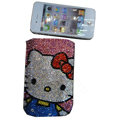 Luxury Bling Holster covers Hello Kitty diamond crystal cases for iPhone 4G - Blue