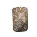 Luxury Bling Holster covers LV diamond crystal cases for iPhone 4G - Brown