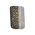 Luxury Bling Holster covers Leopard Grain Vertical diamond crystal cases for iPhone 4G - Gold