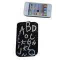 Luxury Bling Holster covers Letter diamond crystal cases for iPhone 4G - Black